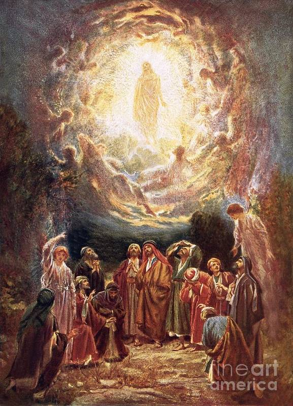 Jesus Ascending Into Heaven By William Brassey Hole (1846-1917) Bible; Jesus Christ; Ascension; Ascending Into Heaven; Jesus Print featuring the painting Jesus Ascending Into Heaven by William Brassey Hole