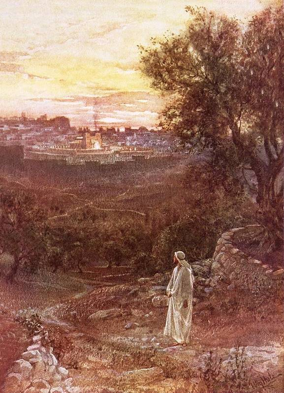 Bible; Jesus Christ; Mount Of Olives Art Print featuring the painting Jesus On The Mount Of Olives by William Brassey Hole