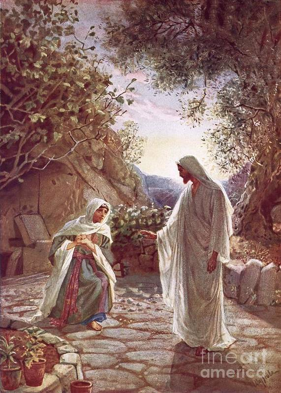 Bible; Jesus Christ; Revealing Himself; Resurrection; Mary Magdalene Print featuring the painting Jesus Revealing Himself To Mary Magdalene by William Brassey Hole
