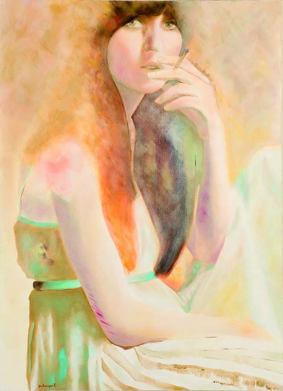 Portrait Art Print featuring the painting Jeune Fille A La Cigarette by Krzis-Lorent Frederique