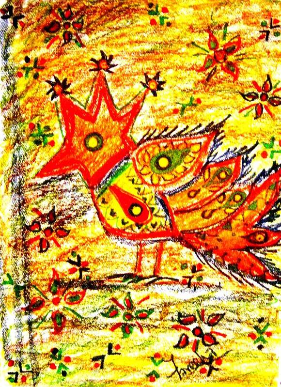 Contemporary Folk Art Print featuring the mixed media Jinga Bird II - Jinga Bird Series by Fareeha Khawaja