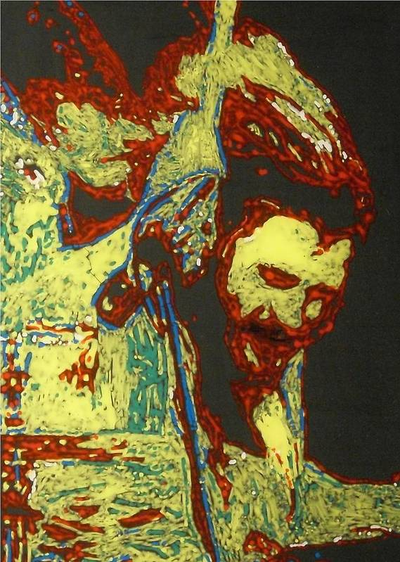 Drummer Art Print featuring the mixed media John Bonham by Grant Van Driest