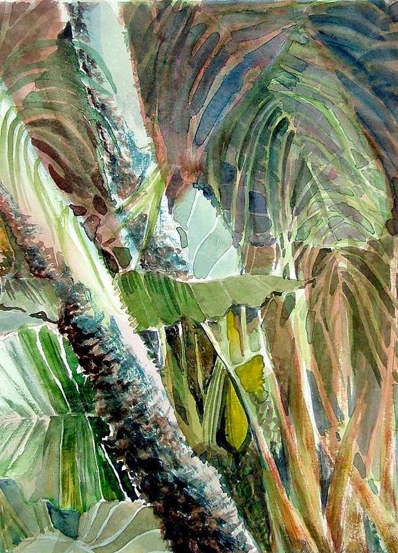 Palm Tree Art Print featuring the painting Jungle Light by Mindy Newman