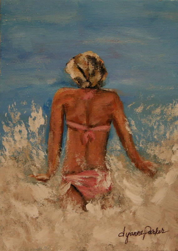 Beach Art Print featuring the painting Just Keep Swimming by Dyanne Parker