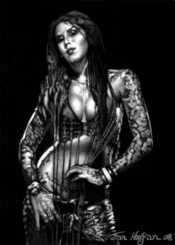 Female Art Print featuring the drawing Kat Von D by Dan Clewell