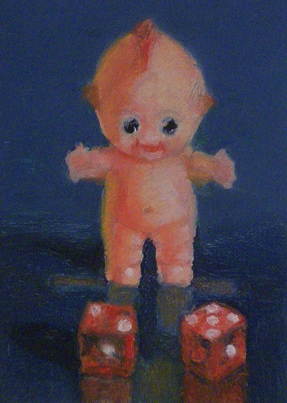 Doll Art Print featuring the painting Kewpie On A Roll by Becky Alden