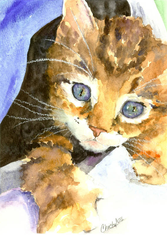 Cat Art Print featuring the painting Kitten In Blue by Christy Freeman