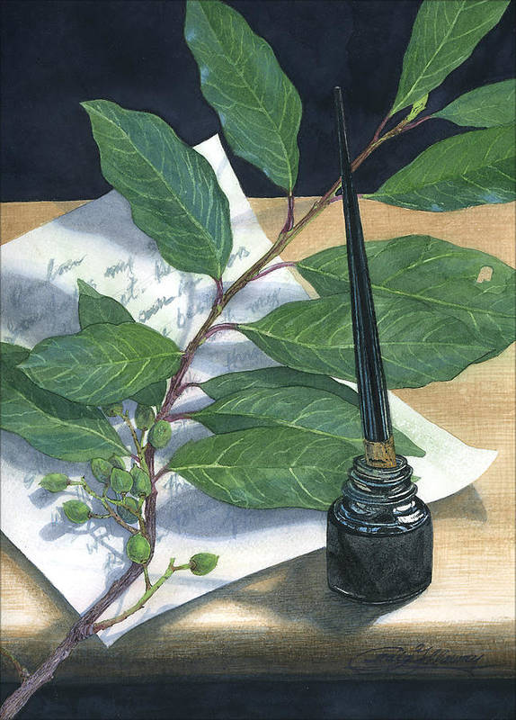 Leaves Art Print featuring the painting Laurel by Craig Gallaway