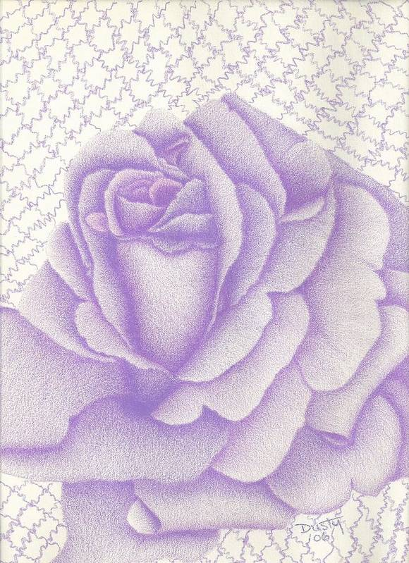 Rose Art Print featuring the drawing Lavender And Lace by Dusty Reed
