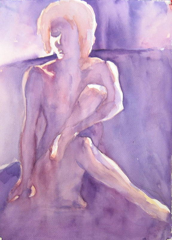 Nude Female Sitting Art Print featuring the painting Lavender Nude by Ken Daugherty