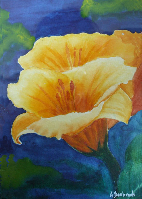 Lilies Art Print featuring the painting Lilies by Ally Benbrook