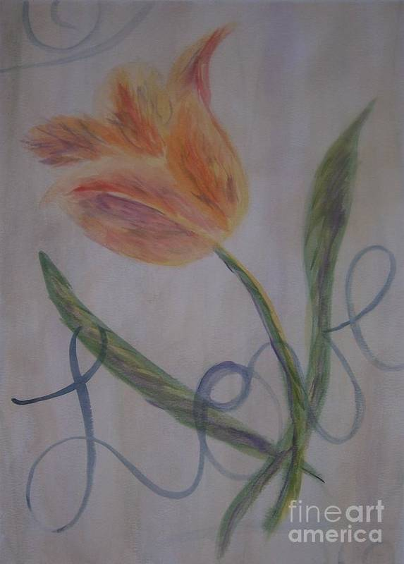Tulip Art Print featuring the painting Love by Emily Young