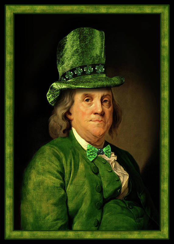 Ben Franklin Art Print featuring the mixed media Lucky Ben Franklin In Green by Gravityx9 Designs