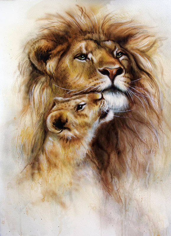 Majestic Lion Male With Golden Mane Loving And Her Baby Cub Art Print