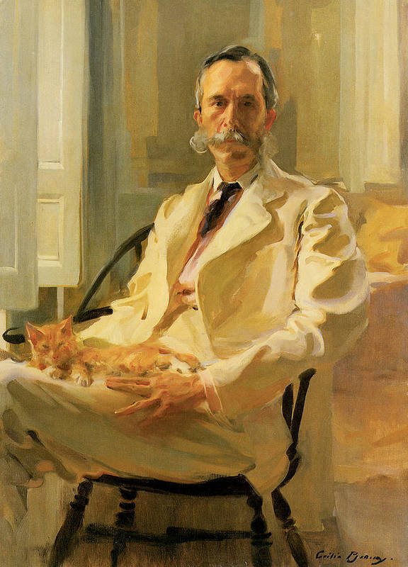 Cecilia Beaux Art Print featuring the painting Man With Cat by Cecilia Beaux