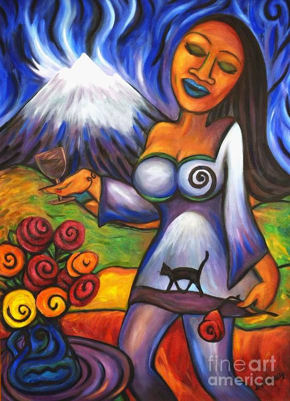 Diconnollyart Art Print featuring the painting Maori Girl Roses And Cat by Dianne Connolly