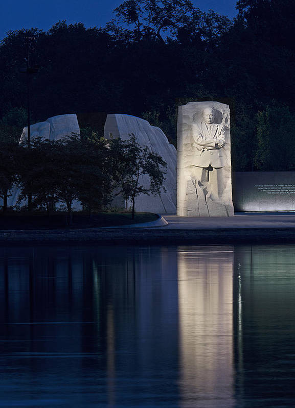 Martin Art Print featuring the photograph Martin Luther King Jr Memorial Overlooking The Tidal Basin - Washington Dc by Brendan Reals