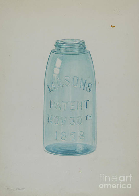 Art Print featuring the drawing Mason Jar by Cora Parker And Frank M Keane