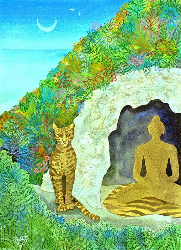 Yogi Meditation Jungle Cave Ocelot Spirtual Dawn Tropical Art Print featuring the painting Meditation At Dawn by Jennifer Baird