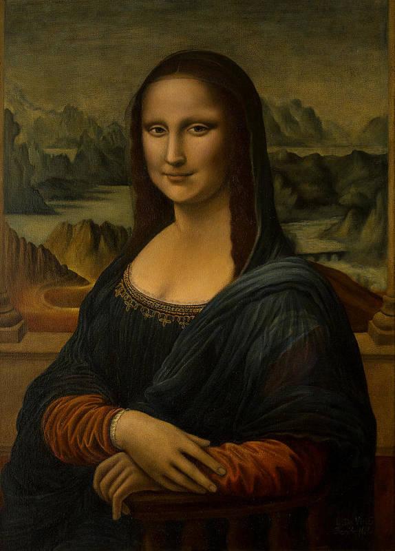 Mona Lisa La Gioconda Reproduction Leonardo Da Vinci Painted Old