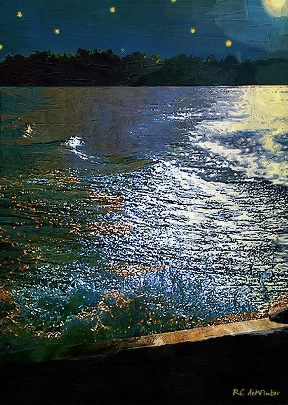 Impasto Art Print featuring the painting Moonlight On The Mississippi by RC DeWinter