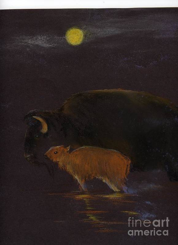 A Mother Bison And Calf Crossing The River Under Moon Light. This Is An Oil Pastel Painting. Art Print featuring the painting Mother Bison And Calf by Mui-Joo Wee