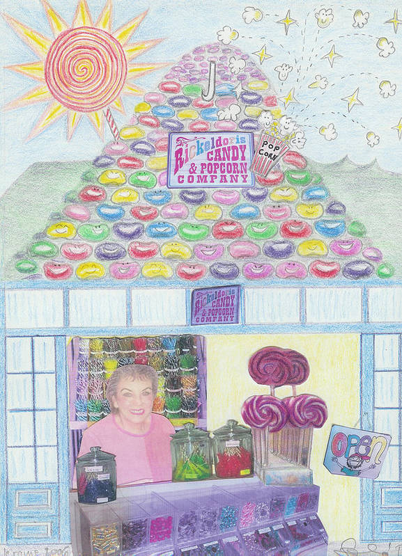 Mountain Art Print featuring the drawing Mountain Of Jelly Beans by Ingrid Szabo