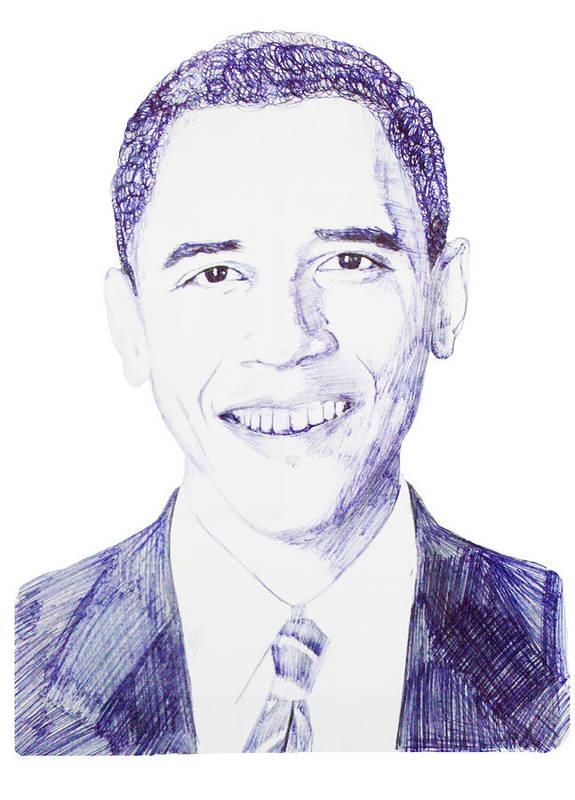 Barack Art Print featuring the drawing Mr. President by Benjamin McDaniel