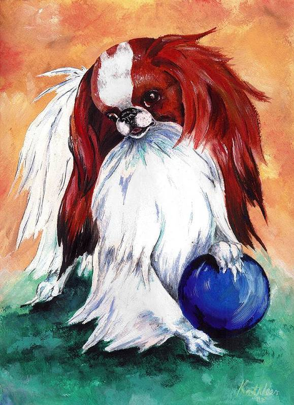 Japanese Chin Art Print featuring the painting My Ball by Kathleen Sepulveda