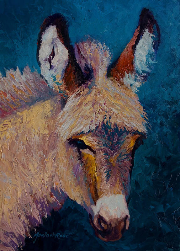 Burro Art Print featuring the painting Mystic by Marion Rose