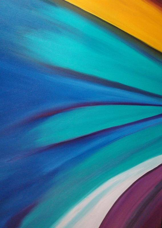 Abstract Car Speed Racers View-blue -yellow-nascar- Painting-oilpaintings-landscape-places Art Print featuring the painting Nascar At 200mph by Stephen Ponting