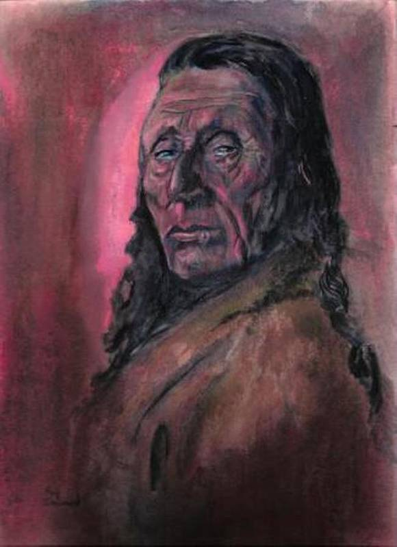 Native American People Portraits Profile Art Print featuring the painting Native American Study by Raymond Doward