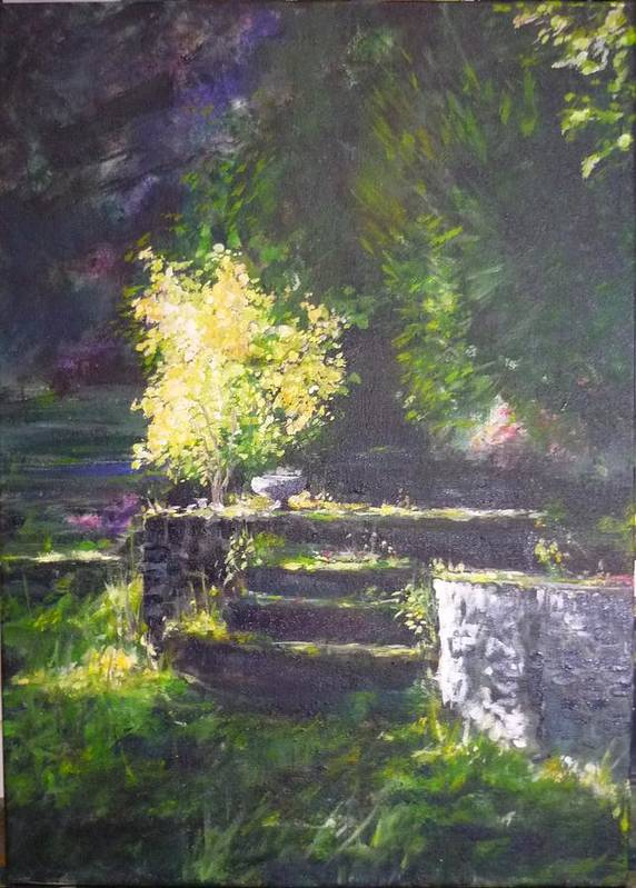 Garden Art Print featuring the painting Naturallly....or A Quiet Corner by Lizzy Forrester