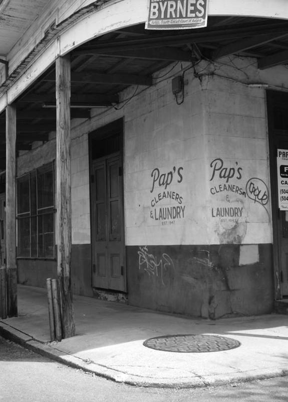 Black And White Art Print featuring the photograph New Orleans Street Corner by Rhianna Wurman