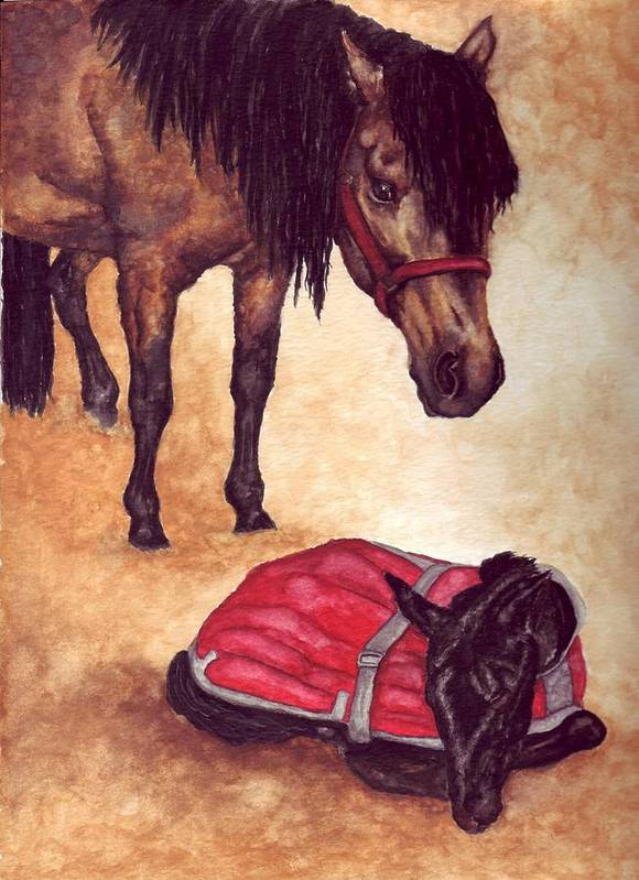 Horse Art Print featuring the painting Nifty And Hannah by Kristen Wesch