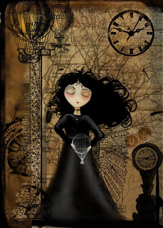 Girl Art Print featuring the digital art No Fear Of Flying by Charlene Zatloukal