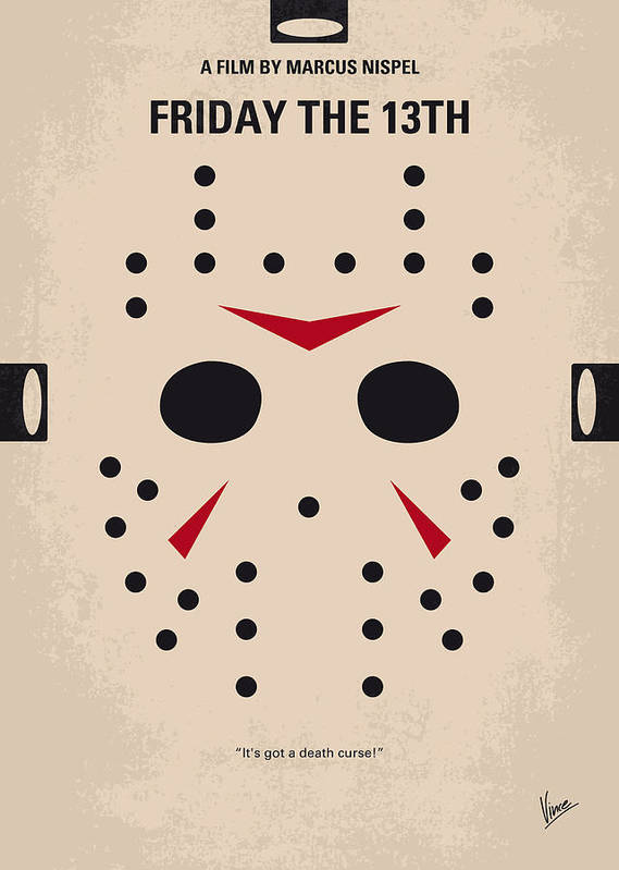 Friday Art Print featuring the digital art No449 My Friday The 13th Minimal Movie Poster by Chungkong Art