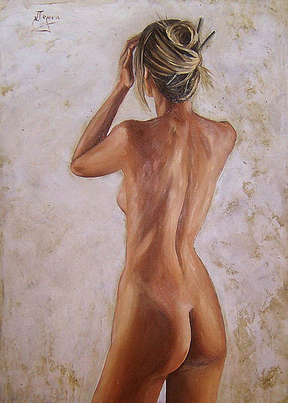 Nude Art Print featuring the painting Nude by Natalia Tejera