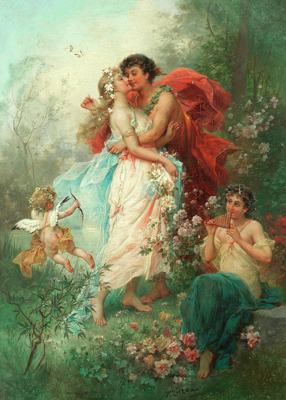 Oath Of Love Art Print featuring the painting Oath Of Love by Hans Zatzka