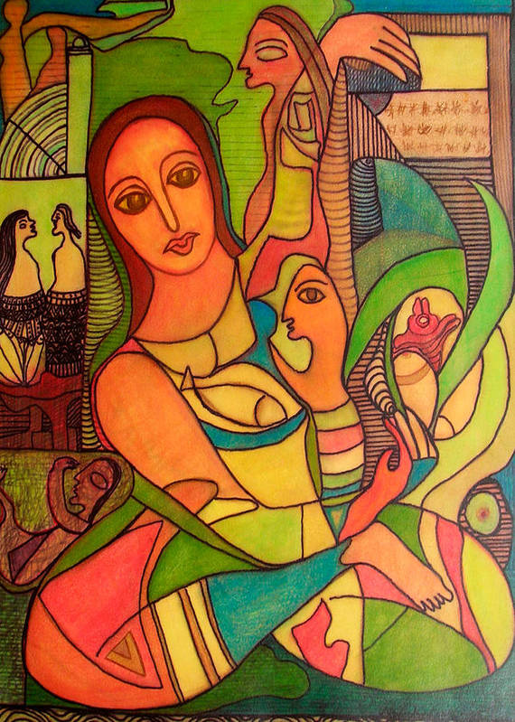 Abstract Art Art Print featuring the painting Ode To Serenity by Nabakishore Chanda