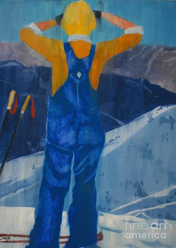 Ski Art Print featuring the painting Oh Say Can You See by Elizabeth Carr