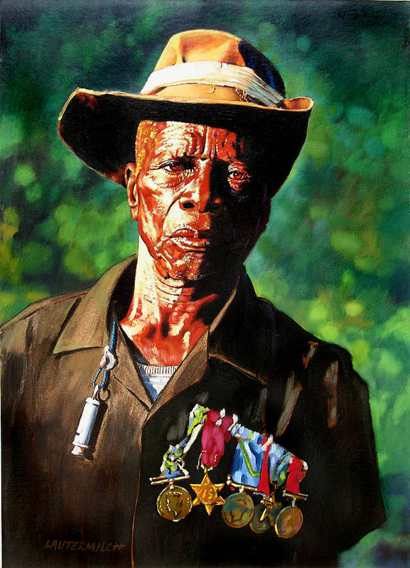 Black Soldier Art Print featuring the painting One Armed Soldier by John Lautermilch