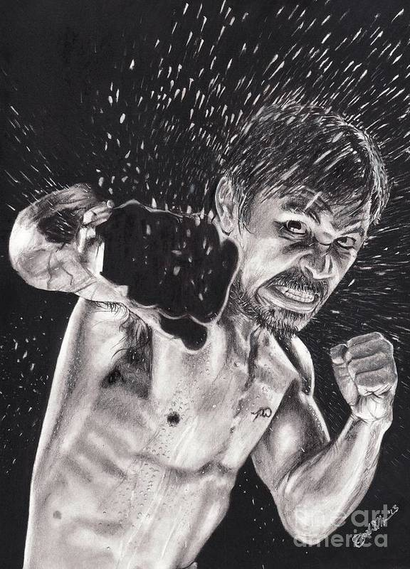 Manny Pacquiao Art Print featuring the drawing Pac-man by Joshua Navarra
