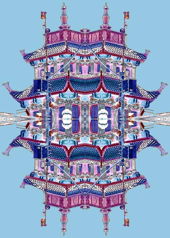 China Town Art Print featuring the photograph Pagoda Tower Becomes Chinese Lantern 2 Chinatown Chicago by Marianne Dow