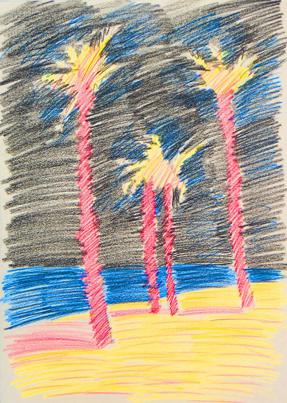 Beach Art Print featuring the drawing Palms At The Night by Vitali Komarov