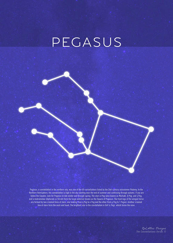 Pegasus Art Print featuring the mixed media Pegasus The Constellations Minimalist Series 11 by Design Turnpike