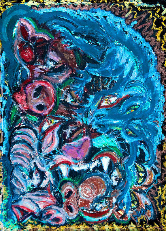 Fantasy Art Print featuring the painting Phantasmagoria by Aymeric NOA