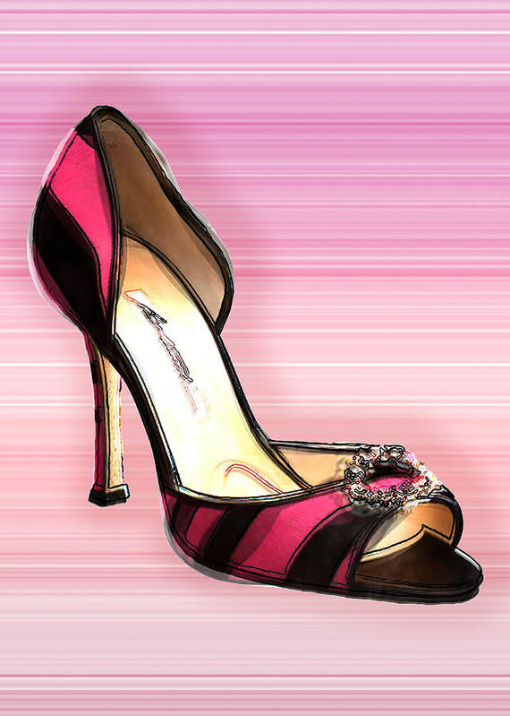 Shoes Heels Pumps Fashion Designer Feet Foot Shoe Art Print featuring the painting Pink And Black Stripe Shoe by Elaine Plesser