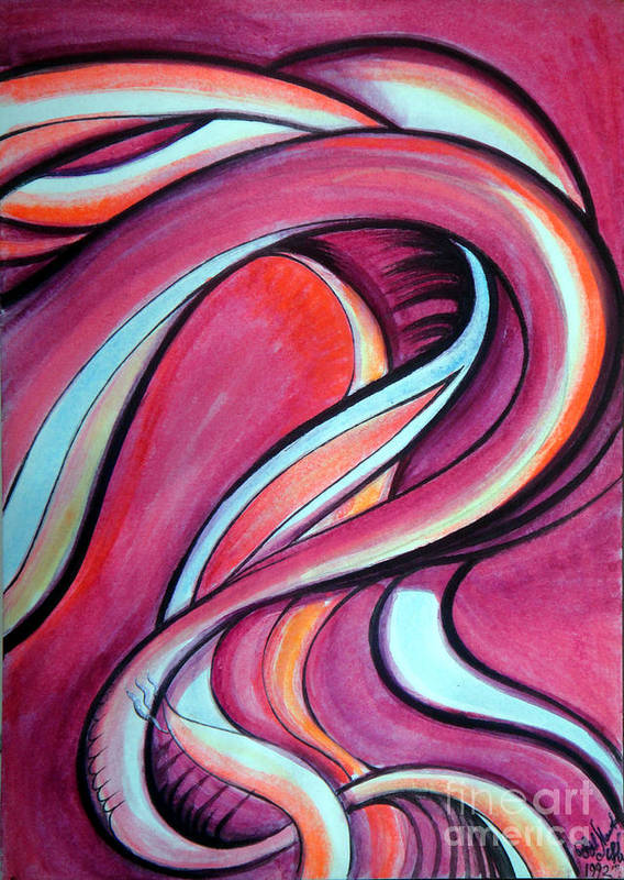 Pink Art Print featuring the painting Pink Wave Of Energy. Abstract Vision by Sofia Metal Queen