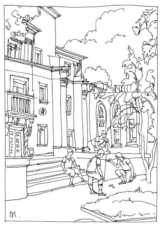 Drawing Art Print featuring the drawing Polish Court by Leonid Petrushin